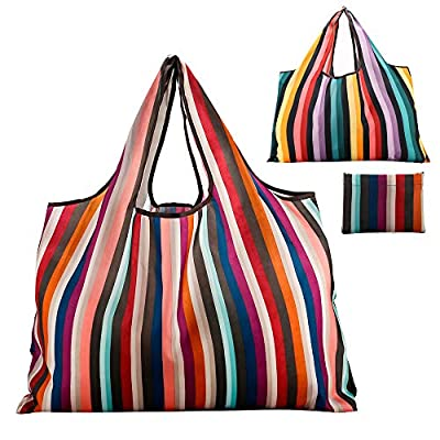 Reusable Grocery Bag Gophra 2 Packs Large Washable Foldable Eco Friendly Nylon Heavy Duty Fits in Pocket Shopping Tote Bag (New Rainbow)