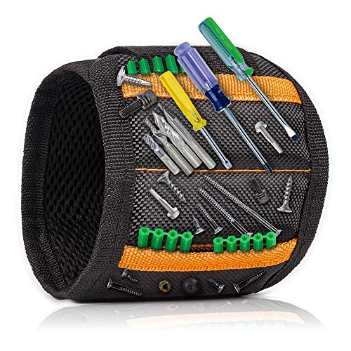 Magnetic Wristband with 15 Strong Magnets for Holding Screws, Nails, Drill Bits - Best Tool Organizers and Gift for Men, DIY Handyman, Father/Dad, Husband, Boyfriend, Women