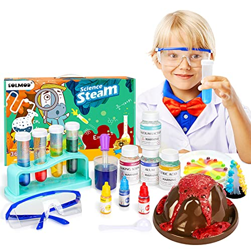SOLMOD Science Kits for Kids, Over 360 Science Experiments Including Volcano Science Kit, Crystal...