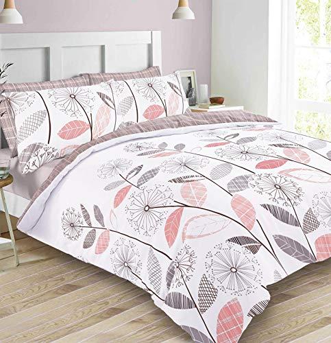 Dreamscene Lujoso Juego de edredón Allium, Color Rosa y Gris, diseño Floral, tamaño King
