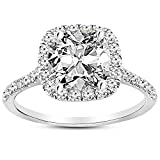 1 Carat 14K White Gold Halo GIA Certified Diamond Engagement Ring Cushion Cut (0.5 Ct K Color VS1 Clarity Center Stone)