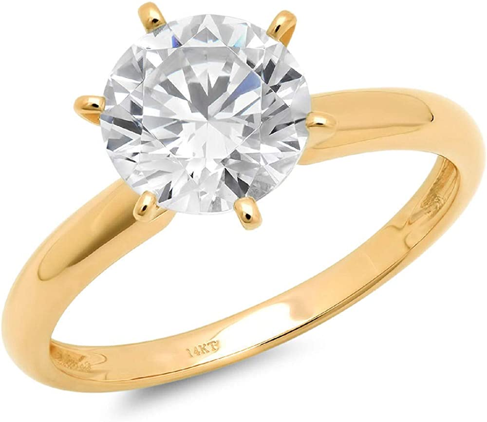 0.5 ct Brilliant Round Cut Flawless Stunning Genuine Clear Simulated Diamond Wedding Bridal Anniversary Engagement Promise Solid 18K Yellow Gold Designer Proposal Solitaire Ring