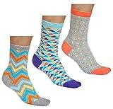 vitsocks Bunte Damen Socken mit Muster (3x Pack) aus BAUMWOLLE, Dreiecke Punke Wellen, JOY, 39-42