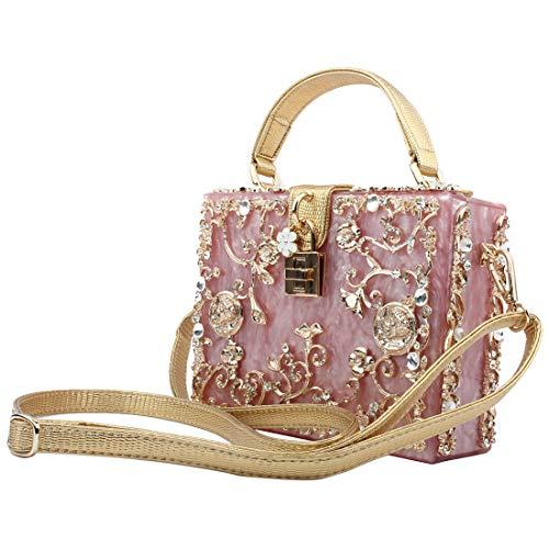 LETODE Damen Clutch Clutch, funkelnde Kristalle, elegant, Acryl, Abendtasche für Hochzeit, Party, Handtasche, Pursey, Pink (rose), Medium