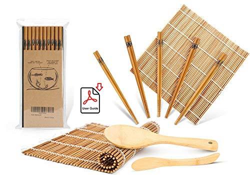 Sushi Making Kit Delamu Bamboo Sushi Mat Including 2 Sushi Rolling Mats 5 Pairs of Chopsticks 1 Paddle 1 Spreader 1 Beginner Guide PDF Roll On Beginner Sushi Kit