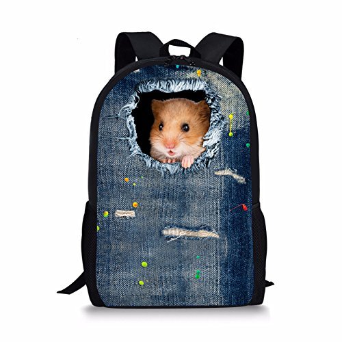 Nopersonality School Bags for Boys Teenage Hamster Print 17 inch Large Backpack for Girls
