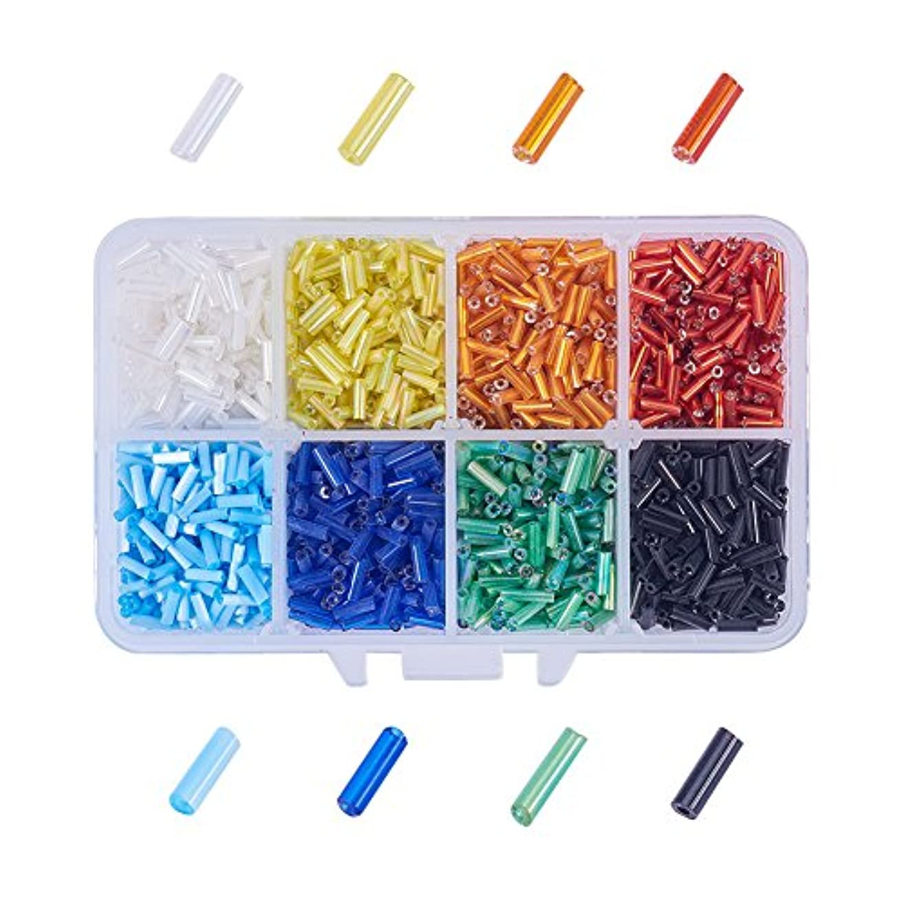PandaHall Elite about 3500 Pcs Transparent Glass Bugle Seed Beads 8 Colors Tube Space Bead Length 6mm for Jewelry Making
