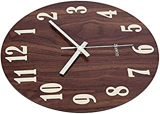Wall clock Secondhand For Kitchen Office Home Tacit And Non-ticking, 12-inch Wall Clock Night Sluttish Function Wooden Wal...