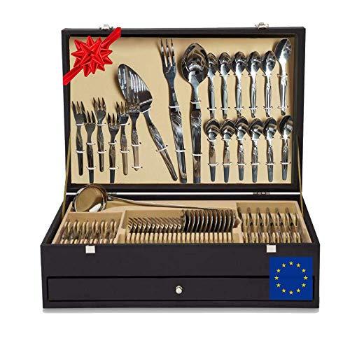 Set 130 posate di lusso con coltello da carne astuccio regalo