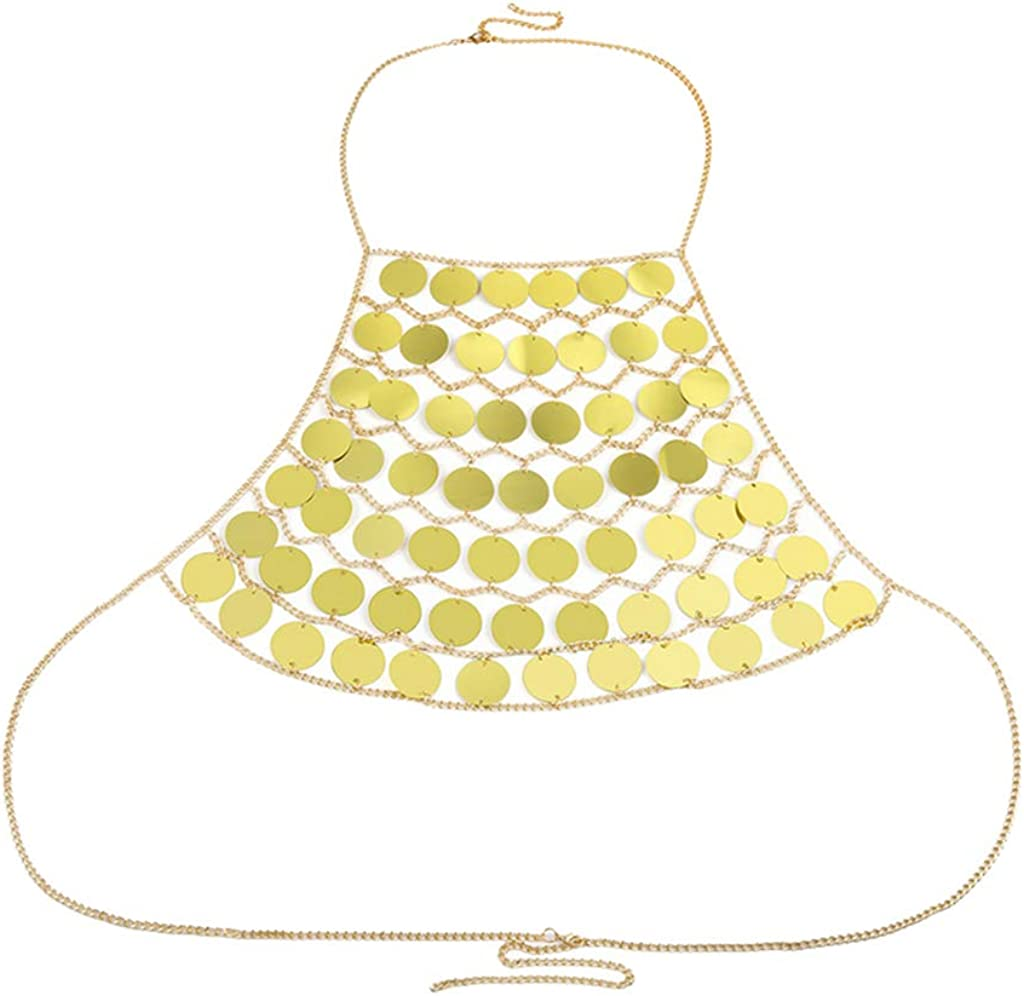 Harilla Body Chain Belly Top Bra Chest Jewelry Women Bikini Necklace Fashion - Golden