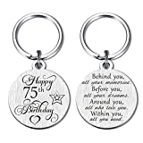 75th Birthday Gifts for Women Men, Happy 75 Year Old Birthday Keychain Party Favor Presents