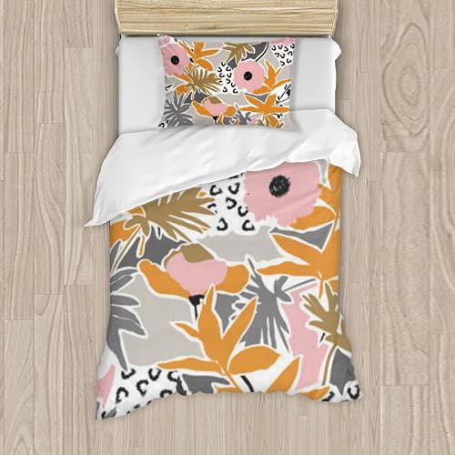 Dachangtui Artistic Hand Drawn Modern Flower Seamless Pattern on Pastel Color pallets Design for fash Juego de Cama de poliéster, Juego de 3 Piezas, Funda nórdica Suave, Tela de algodón a Juego,