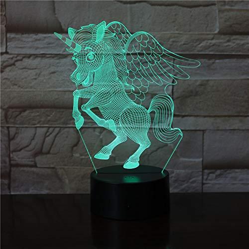 TYWFIOAV Ilusión 3D Modelo de luz Nocturna luz LED táctil decoración del Dormitorio de los niños Arco Iris Caballo Linterna Amigo Regalo de Nacimiento de niño