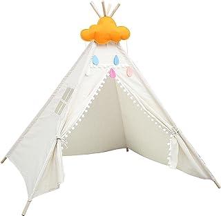 Moslate Lektält för barn, indisk tofs hårboll kanvas teepee lekstuga litet land barn tipi-tält, dekorativ prinsessa slott ...