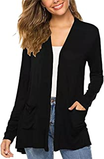 Womens Casual Long Sleeve Cardigan Solid Color Loose Breathable Cardigan top with Pockets