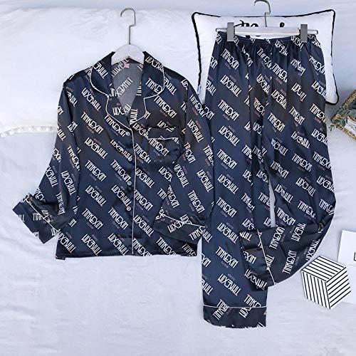 Ondergoed Dames Lente Herfst Europen Best Verkopende Lange Mouw Broek 2 Stuks Satijnen Pyjama Nachtkleding Print Sets