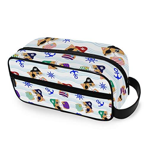 QMIN Tragbare Kulturtasche mit Piratenkatze und Ruder, Anker und Kulturbeutel, multifunktional, Kosmetiktasche, Make-up-Tasche für Jungen, Mädchen, Damen, Herren