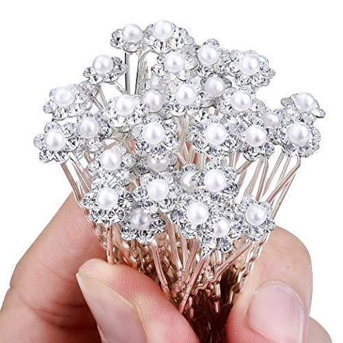 Drishti® Hair Bun Pin Fancy Juda Pins with crystal rhinestone for Women and Girls 2 box Set of 24