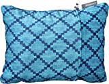 therm-a-rest compressible travel pillow for camping, backpacking, airplanes and road trips, blue