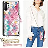 ZVE Samsung Galaxy Note10 Plus Wallet Case, Case with Crossbody Chain Wrist Strap Credit Card Holder Zipper Handbag Purse Print Cover for Galaxy Note 10 Plus 5G (2019), 6.8 inch - Mermaid Wall