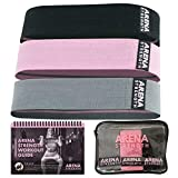 Arena Strength Fabric Booty Bands: Fabric Resistance Bands for Legs and Butt: 3 Pack Set. Perfect Workout Hip Band Resistance. Workout Program and Carry Case Included.…