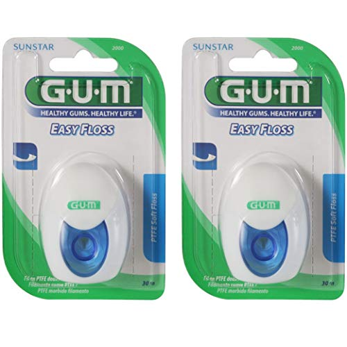 GUM Easy Floss Zahnseide leicht gewachst, 2x 30 Meter (60 Meter), PTFE-Zahnseide von Sunstar