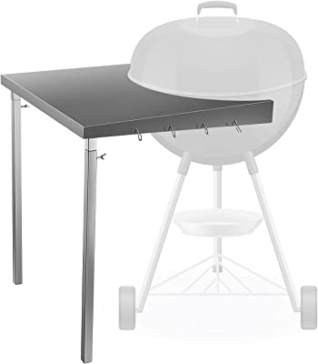 """ETE ETMATE Weber Kettle Table, Weber Grill Side Table with Multiple Hooks Stainless Steel Foldable Grill Workbench Fits All Weber 18"""" Charcoal Kettle Grills"""