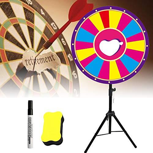 WUPYI2018 60 cm lyckohjul leksak färg hjul spel för lotterispel ordspel med suddgummi, markeringspenna och 18 slot färg hjulspel