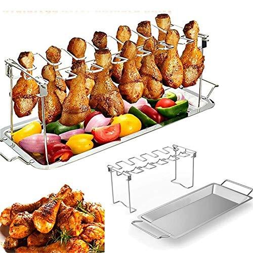 Aquila Barbecue Grill Edelstahl Chicken Wing Beinständer for Grill Smoker Backofen Edelstahl Vertikal Roaster-Stand, 33 * 12 * 12cm AQUILA1125