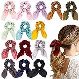 WATINC 14 Stücke Bowknot Haargummis Superweiche Seidenschal Haargummis 2 in 1 Design Solid Colors Haargummis Pferdeschwanz Halter mit Bögen Haarschmuck Seile für Frauen