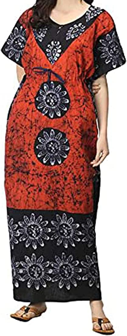 UKAL Women Fashion Clothing Cotton Sleep Lounge Wear Caftan Ladies Kimono Nighties Printed Nightdress Maxi Kaftan Nightgown