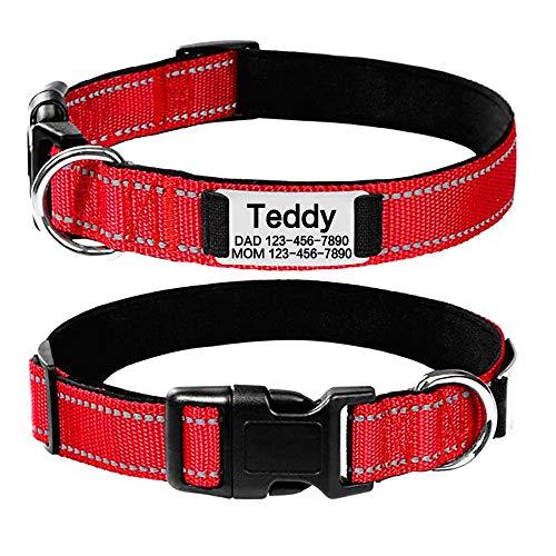 Oncpcare Personalisiertes Hundehalsband, reflektierend, individuell graviert, Haustiermarken, verstellbar, robustes Nylon-Halsband für kleine, mittelgroße und große Hunde