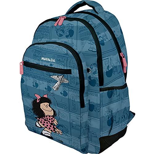 Mafalda 37500192. Mochila Escolar, Colección Avión, Compartimento Acolchado para Portátil, 33x46x22,5cm