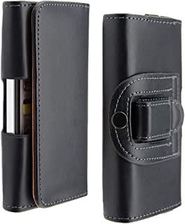 Black Leather Phone Case for Doro Liberto 810 820 Mini Horizontal Belt Clip Holster for Echo Lolly/Plum/Konrow Easy One Waist Phone Bag with Magnetic Clasp and Belt Loop