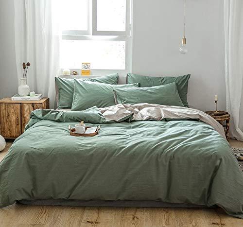 GETIYA Einfarbige Bettwäsche 135x200 Dunkel Grün Bettwäsche 2 Teilig Erwachsene Bettbezug Natürliche Gewaschene Baumwolle Bettbezug Set mit Kissenbezügen Hotel Qualität Wendebettwäsche Doppelbett