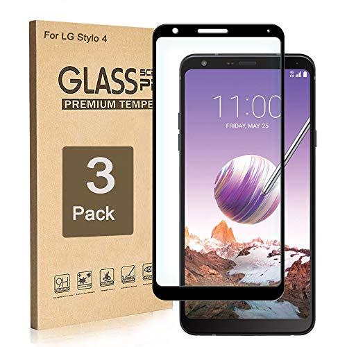 LG Stylo 4 Displayschutzfolie aus gehärtetem Glas, Kanten-zu-Kantenschutz, volle Display-Abdeckung, Kratzfest, 9H Härte, blasenfrei, HD klar, Sensitive Touch, Ersatzgarantie (3 Stück)