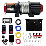 4500 lbs 12V Electric Winch Steel Wire Rope ATV/UTV, Off Road, Wireless Remote Control,Pure Copper Motor,Towing Winch Kit for Boat Trailer