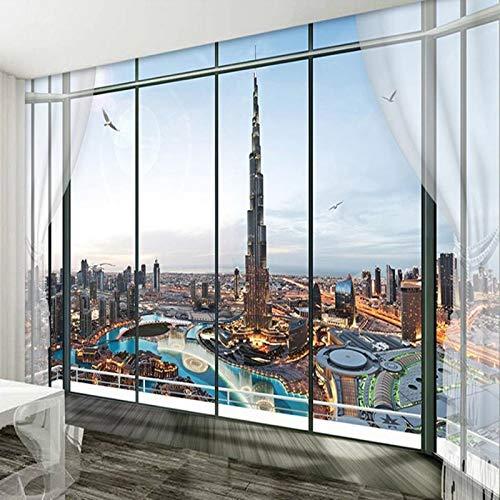 Benutzerdefinierte Fototapete Dubai City Night Wallpaper 3D-Tapete für Wand Schlafzimmer Kinderzimmer Dekor TV Hintergrund Wandverkleidung Wandbild, 200cm×140cm