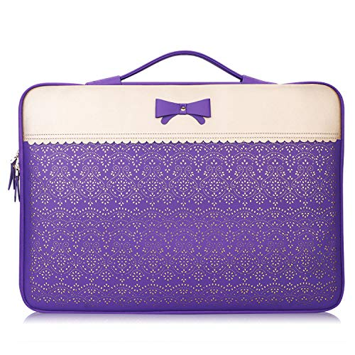 """WWW 12-13 Inch Water Resistant Laptop Sleeve Case for Surface Book MacBook Pro, Briefcase Bag fits All 12""""-13"""" Lenovo Toshiba HP ASUS Acer Chromebook Notebook Ultrabook, Purple"""