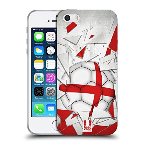 Head Case Designs Inghilterra Vetro Rotto Calcio Cover in Morbido Gel e Sfondo di Design Abbinato Compatibile con Apple iPhone 5 / iPhone 5s / iPhone SE 2016