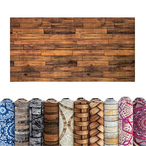 casa pura Teppich Läufer Compaq | Niederflor Teppichläufer für Flur und Küche | viele Größen und Moderne Muster | Livorno (Holz-Optik) 100x500 cm