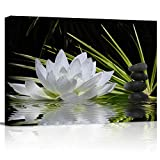 Canvas Wall Art - White Lotus and Black Zen Stones Picture - Modern Wall Decor Gallery Canvas Wraps Giclee Print Stretched and Framed Ready to Hang - 12' x 16'