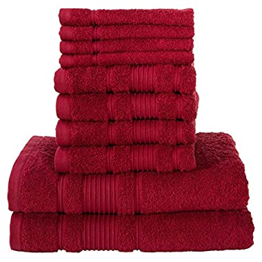 8 Piece Towel Set | Premium Quality Luxury Turkish Towels 2 Bath Towels, 2 Hand Towels, 4 Washcloths - BURGUNDY