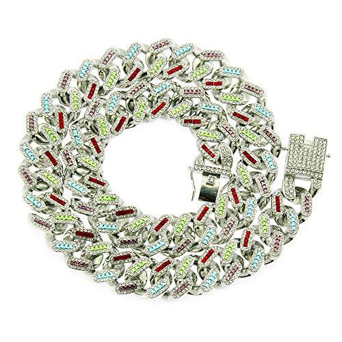 21mm Kleurrijke Bevroren uit Ketting, Hip Hop Miami Volledige Cz Diamond Cubaanse Link Chain Bracelet Gift voor hem,8''