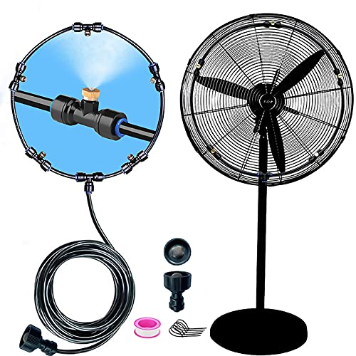 Outdoor Mist Cooling System Fan Kit for a Cool Patio Breeze 20FT (6M) Misting Line + 5 Copper Metal Mist Nozzles + a Copper Metal Connector(3 4  ) Fit to Any Outdoor Fan (Black 1)