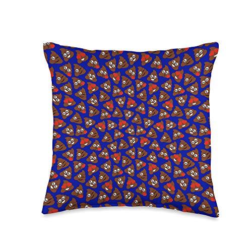 Sabrelia Co. Poop Emoji Blue Poo Patterned Throw Pillow, 16x16, Multicolor
