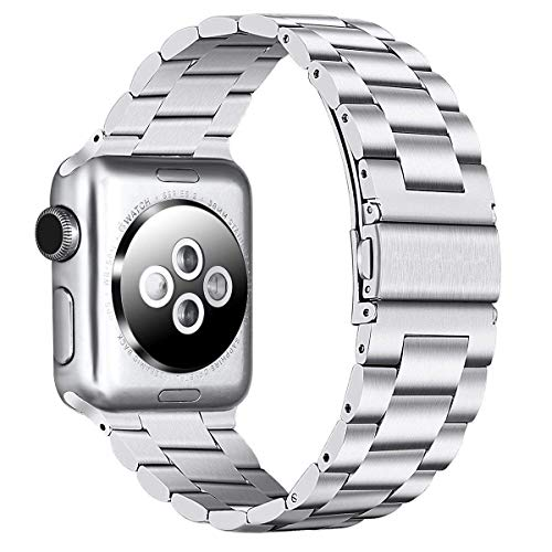 PUGO TOP Bands Compatible with apple watch 38mm 40mm Series 6/5/4/3/2/1/SE Stainless Steel iWatch iPhone Watch Bracelet Band for Men Women. (38mm/40mm, Silver)