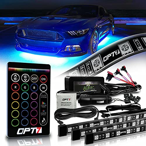 OPT7 Aura Underglow Flexible Lighting Kit for Cars Trucks RV w/Wireless Remote, Exterior Underbody Neon LED Light Strips, Multi-Color, mode, Smart LED, Waterproof, Soundsync, 2 x 48 inch + 2 x 36 inch