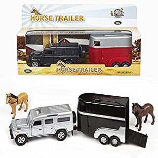 Land Rover With Horse Trailer - Great Birthday Or Christmas Present for Car & Horse Mad Children - Comes With Horses In The Trailer