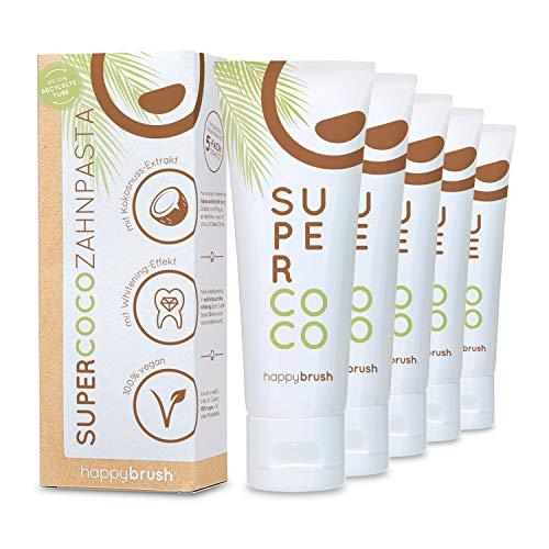 happybrush® Teeth Whitening Zahnpasta für natürliche Kokos Zahnaufhellung | Kokosnuss Zahnpasta SuperCoco für Weiße Zähne (5 Stück 75ml)